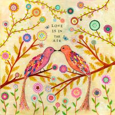 Bird Painting Art Print on Wood, Colorful Collage Birds and Flowers Art, Love Birds. $35.00, via Etsy.