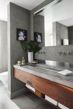 62 Ideas For Bathroom Design Vanity Concrete Countertops Vanity Countertop, Bathroom Sink Vanity, Wood Bathroom, Grey Bathrooms, Small Bathroom, Bathroom Cabinets, Bathroom Inspo, Grey Cabinets, Bathroom Ideas