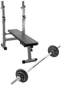 awesome Entrenamiento Con pesas set: Banco Plegable 27kg gimnasio en casa juego de peso con 1,8m barra y Alta calidad Placas de peso