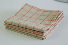 "Organic Cotton Table Napkins 12"" square Set of 4 / Everyday Napkins / Small Napkins / Twig Coral Plaid by SUZUYA on Etsy"