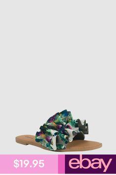 54a79a70ef55 DESMOND-3! Qupid Women s Ruched Ruffle Slip On Flats Slipper Slide Sandals
