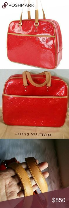AUTH Louis Vuitton SUTTON red vernis large tote ❤FINAL MARK DOWN❤100% authentic,   👌 outside is good condition no crack or tear , zipper work great,  inside is good and clean but it's little peeled on the top close to the main zip , handles is beautiful honey patina and strong all stitching intact,  come with dust bag,  more pics available, 🍓PRICE IS FIRM🍓 Louis Vuitton Bags Totes