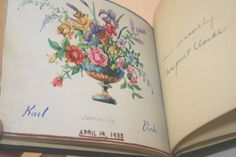 Handpainted and inscribed, this  vintage school autograph book dates to 1935. Public School 71 in Queens, New York City, owned by Gladys Kastner of Ridgewood, Queens