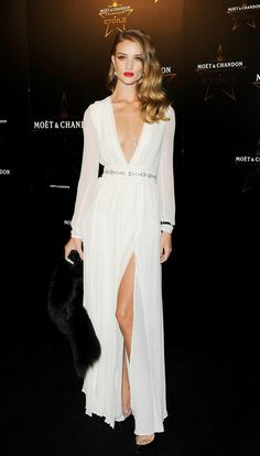 Rosie Huntington white dress