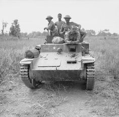 "Men of the 6th Rajputana Rifles driving a Japanese armoured carrier ""So-Da"" M1938 (Type 98) captured near Singu, February 1945."