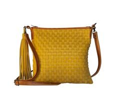 The Alexa in Mustard Leather Weaving, Brass Hardware, Antique Brass, Mustard, Leather Bag, Shoulder Strap, Hand Weaving, Stone, Bags