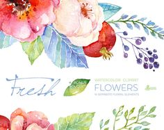 Fresh Flowers Clipart + Bouquet. Handpainted watercolor, wedding invitation…