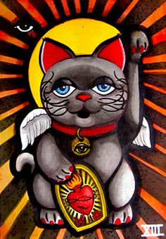 "Original XINAXIII ""Maneki Neko Lucky cat"" beckoning cat Tattoos Japanese Art. $60.00, via Etsy."