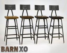 Set of 4 Reclaimed Wood  Industrial Bar Stool w/ Steel by barnxo