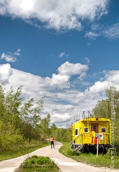 Leelanau Trail | TART Trails, Inc. The caboose at the start of the trail from Traverse City to Suttons Bay Michigan.