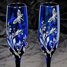 Dragonfly Wedding Champagne Glasses, Cobalt Blue Toasting Flutes by bradgoodell, $85.00 USD