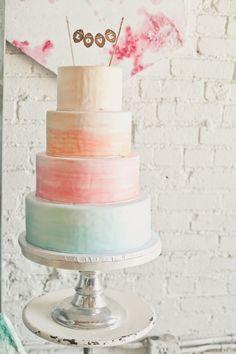 Ombre watercolor wedding cake