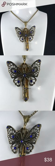"""Steampunk Butterfly 🦋 Key 🔑 Brass Necklace B2-23 Brass Key with real watch parts come together with the antique brass Butterfly 🦋 with Blue Sapphire Czech Crystals. A one of a kind, handmade, creation. 16"""""""" antique brass chain included. HM Simon Creation Jewelry Necklaces"""