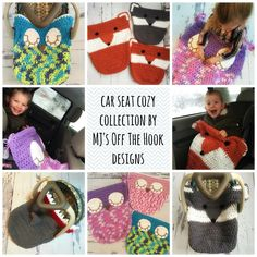 Car Seat Cozy Collection!  This cozy is designed to either wrap under the bottom of car seat or stay inside the car seat with babies feet tucked inside the bottom pouch. The pouch will not interfere with car seat buckles! I've also included a larger size for bigger car seats. It's the perfect cozy for your little ones to snuggle up with in the car. They will love the feel of Bernat Baby Blanket yarn and it washes up great too! http://www.ravelry.com/patterns/library/sleepy-owl-car-seat-cozy