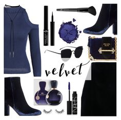 """""""Crushing on Velvet"""" by dora04 ❤ liked on Polyvore featuring Gianvito Rossi, Lacoste, Prada, NARS Cosmetics, Velour Lashes, Giorgio Armani, Pat McGrath and Old Navy"""