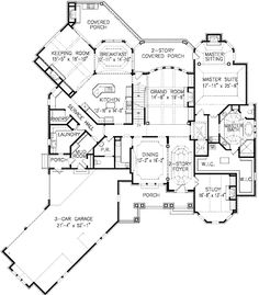Luxury Home with Expansion Possibilities LOVE this floor plan . add kids' and guest rooms to left side of house, rather than on second floorLOVE this floor plan . add kids' and guest rooms to left side of house, rather than on second floor Luxury House Plans, Dream House Plans, House Floor Plans, Dream Houses, House Layout Plans, House Layouts, The Plan, How To Plan, Plan Plan