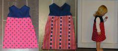DIY jurkje voor mijn kleinste meid,eenvoudig gemaakt: overtekenen van andere jurk op papier en ruw nagewerkt