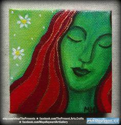 Miniature painting with easel etsy.com/shop/ThePresents facebook.com/ThePresent.Arts.Crafts facebook.com/MayaHaywardArtGallery #Art #gifts