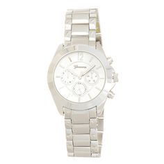 """Silver tone metal band boyfriend style watch featuring a 1 1/2"""" nautical style watch face."""