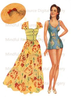 Rita Hayworth Fashion 1940s Old Hollywood Paper Doll by mindfulresource on Etsy