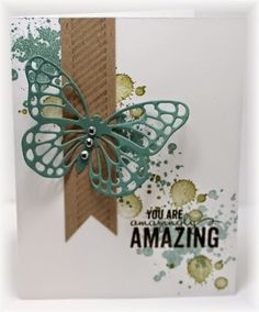handmade card from Scrappin' and Stampin' in GJ ... die cut butterfly ... luv the diagonal band of stamped grunge splats in the background ... one layer card ... Stampin' Up!
