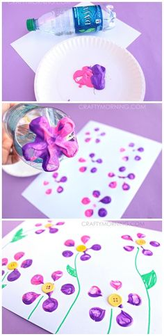 Make Bottle Print Button Flowers! Fun kids craft idea for Spring or Summer | http://CraftyMorning.com