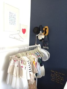 Project Nursery - Clothing Rack in the Nursery with personalized hanger decoration by LilaFrances on Etsy