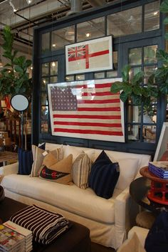 Caitlin Creer Interiors: Juxtaposition  Framed flag