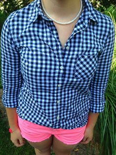 Stuck in a rut: Navy check/pink
