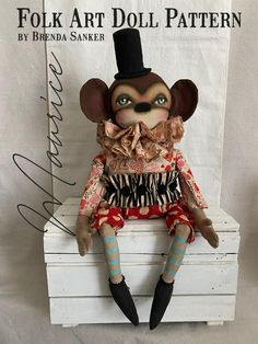 Monkey Doll, Monkey Art, Primitive Doll Patterns, Primitive Folk Art, Diy Doll Pattern, Halloween Doll, Doll Crafts, Sewing For Beginners, Doll Face