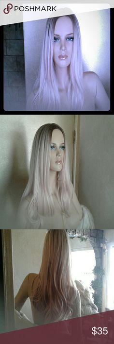 Stunning blonde wig ombre Gorgeous beige blonde brown roots perfect center part Accessories Hair Accessories