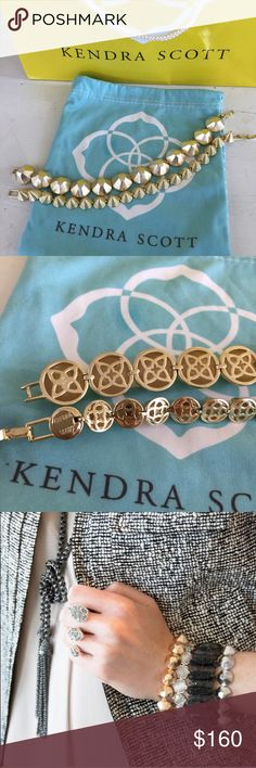 """/Kendra Scott/ set of two link bracelets Kendra Scott set of two bracelets. Classic tennis bracelet style, geometric stud links. Larger one is the """"Greer"""" bracelet - foldover clasp. Smaller one, each link is a cone-shape. 14k gold plated over brass. Will arrive in dustbag. Excellent condition, 7"""" long - thank you! Kendra Scott Jewelry Bracelets"""