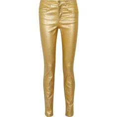 ISABEL MARANT ÉTOILE   Ellos high-rise metallic coated skinny jeans ($135) ❤ liked on Polyvore featuring jeans, button-fly jeans, skinny fit denim jeans, skinny jeans, metallic jeans and highwaist jeans