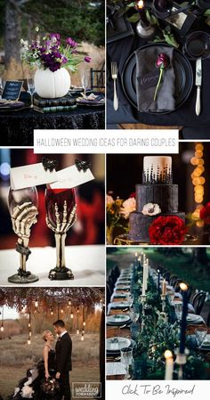 If you have been dreaming of a Halloween themed wedding for as long as you can remember you are not alone. We have gathered ideas for Halloween weddings!#weddingforward #wedding #bride