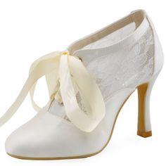 ElegantPark HC1529 Women Pumps Satin Lace Ribbon Tie Bootie Closed Toe High Heel Wedding Bridal Shoes Ivory US 6