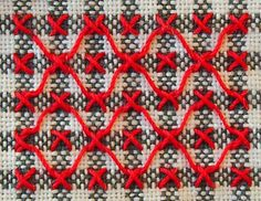 To me one of the appealing things about chicken scratch on the traditional gingham is the way the stitching may void out some of the three color blocks. The minimum grid is four blocks, one block e…