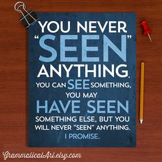 Seen+vs+See+Grammar+English+Teacher+Poster+by+GrammaticalArt,+$18.00