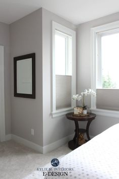 Benjamin Moore Abalone in a guest bedroom wtih cellular blinds, greige carpet and white trim. Kylie M Interiors Color Consulting, E-decor – Carpet for living room Grey Purple Paint, Best Gray Paint Color, Light Gray Paint, Neutral Paint, Gray Color, Benjamin Moore Purple, Benjamin Moore Bedroom, Benjamin Moore Abalone, Benjamin Moore Barren Plain