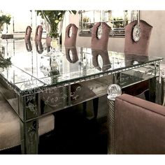 Magnificent Venetian mirror glass dining tables luxuriously decorated with hand etched and bevelled glass. Antique Mirror Glass, Venetian Glass, Venetian Mirrors, Glass Furniture, Table Furniture, Mirror Engraving, Glass Dining Table, Beveled Glass, How To Antique Wood