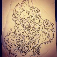 Demon with serpent-maned Cerberus
