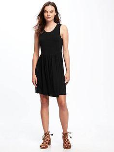 Fit & Flare Jersey-Knit Dress Old Navy