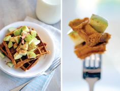 Whole Wheat Flax Seed Pumpkin Waffles with Apples and Cinnamon