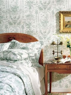 Toile de jouy has a story to tell when used in your home. Originating in France, this classic design offers fresh scenes. French Country Decorating Bedroom, French Bedroom Design, Country Decor, Decor, Country Bedroom Decor, Country Bedroom, Bedroom Design, French Bedroom, Living Room Designs
