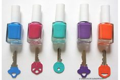 Sort keys by color with nail polish!