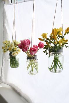 Hanging flower jars from Flowers In Jars, Flower Jars, Hello Spring, Flower Crown, Flower Power, Flower Arrangements, Glass Vase, Wedding Flowers, Shabby