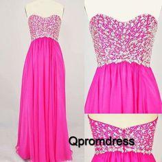 2016 beautiful beaded hot pink chiffon prom dress, evening dress for teens, prom dresses long