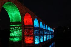 Photos and videos of the testing of the Royal Border Bridge illuminations in Berwick upon Tweed, due to officially launch on 22 October Under Bridge, Berwick Upon Tweed, Great North, Arch Bridge, Public Realm, Northern England, Newcastle, London England, The Good Place