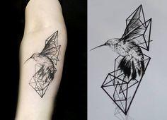 Echte vogel met geometrische vormen: vind ik heel mooi! Alleen wil ik meer wit en minder grijs tinten