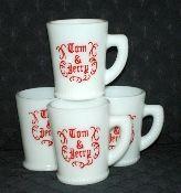 McKee Tom & Jerry Four Milk Glass Mugs