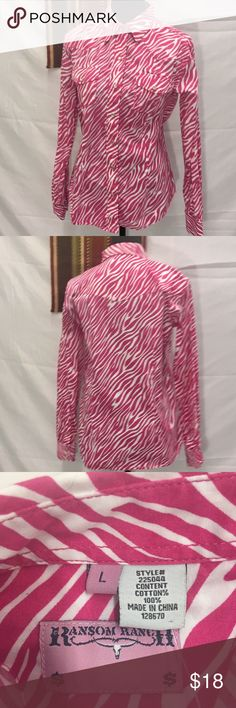 Pink Zebra Button down western shirt Great used condition Ransom Ranch Tops Button Down Shirts